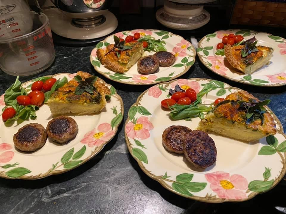 Quiche, Sausage and Tomato breakfast, Limestone Inn Bed and Breakfast
