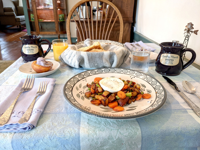 Poached Egg and Vegetable Hash